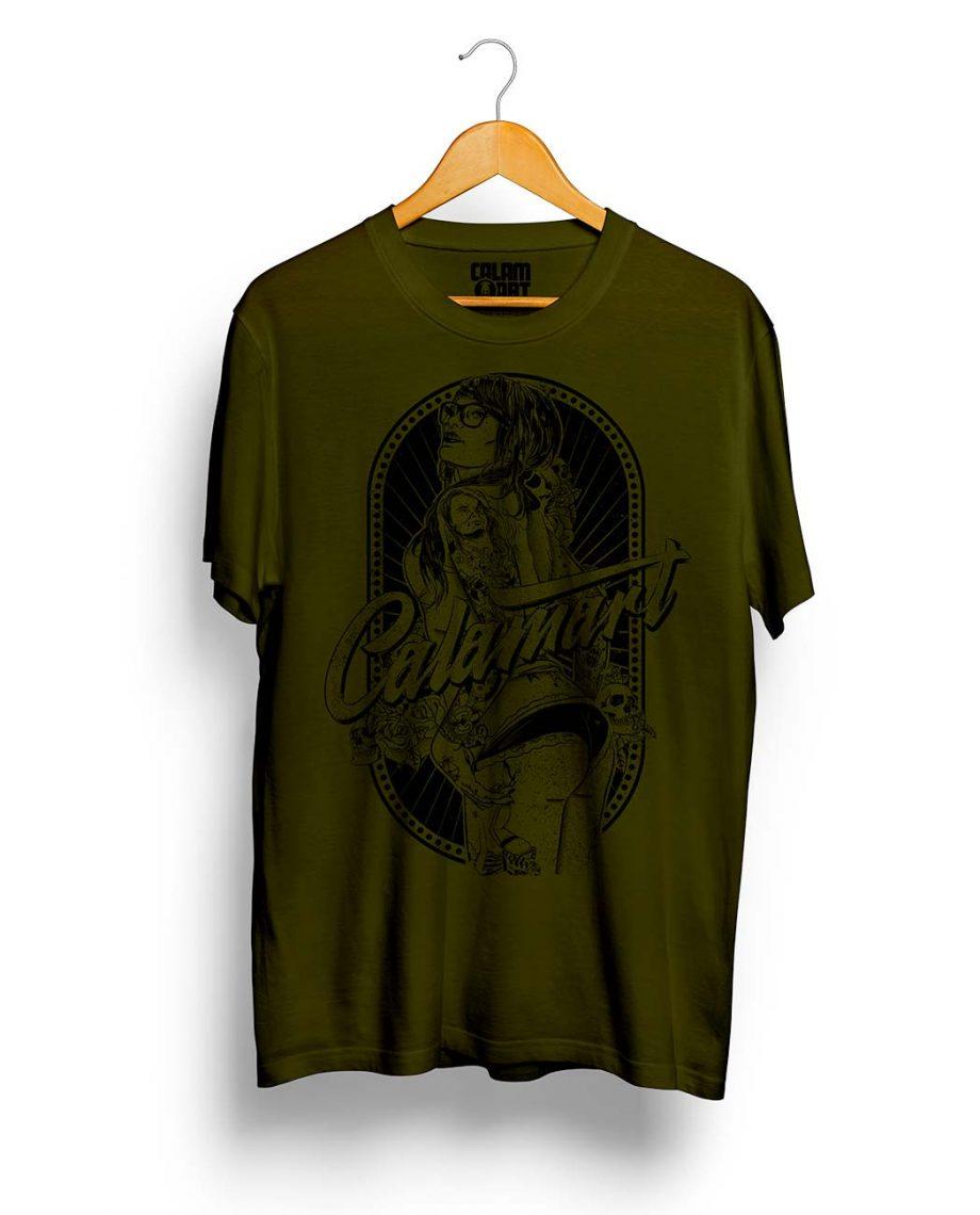 camiseta manga corta modelo pinup green army black