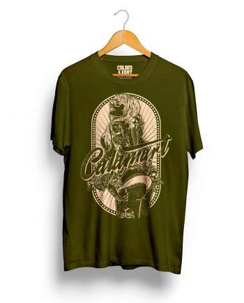 camiseta manga corta modelo pinup green army cream