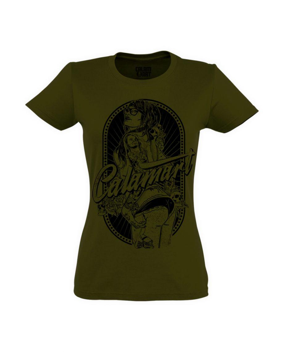 camiseta manga corta pinup mujer