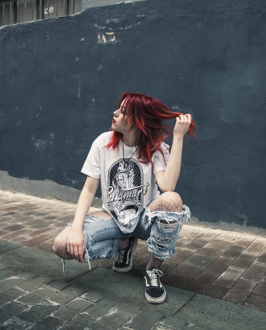 camiseta manga corta pinup blanca mujer